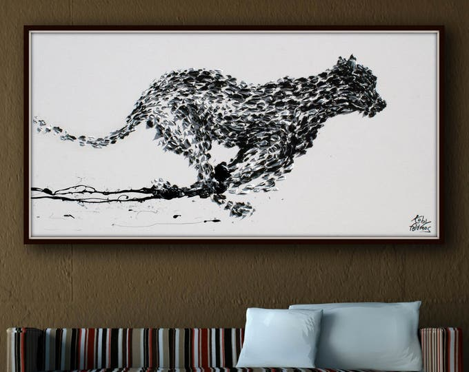 """Black White Cheetah Painting 55""""  Black panther Beautiful BW painting, thick layers , Prestige luxurious, art collectors, Koby Feldmos"""