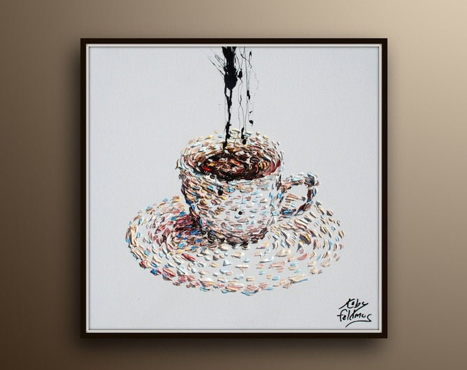 """Coffee cup 25"""" beautiful painting for home / coffee shop / beautiful relaxing colors, black splash like steam, Koby feldmos"""