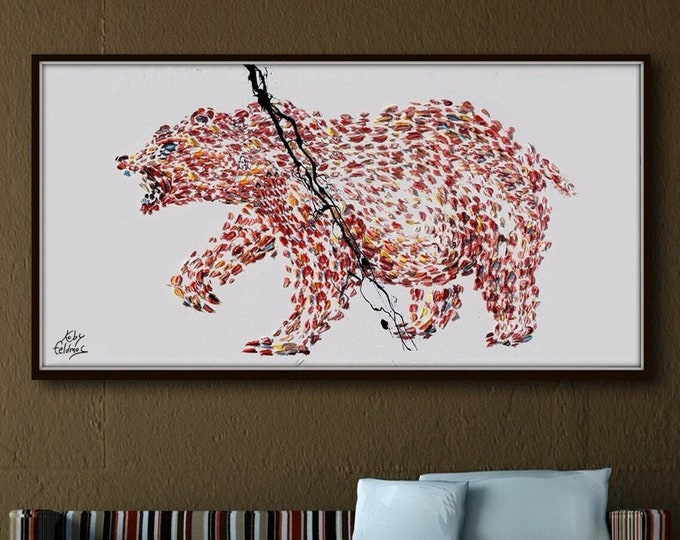 """Grizzly Bear 67"""" Beautiful large animal painting on canvas, original hand made, thick layers, extremely power animal, By Koby Feldmos"""