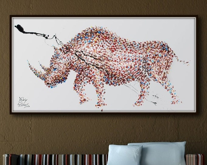"""Painting Rhino 67"""" Animal Painting on Canvas, Abstract Art , Thick paint , Original HandMade art, Certificate Attached, By Koby Feldmos"""