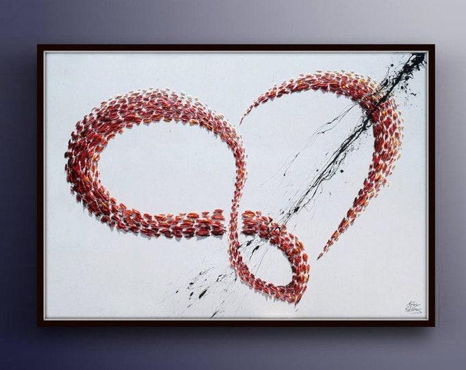 "Infinity Love 40"" Infinity Symbol Original Abstract Oil acrylic Painting, By Koby Feldmos"