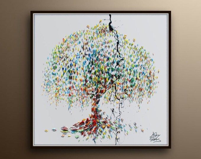 """weeping willow tree 35"""" , Beautiful oil painting on canvas of this calming rich texture, unique style, Original handmade by Koby Feldmos"""