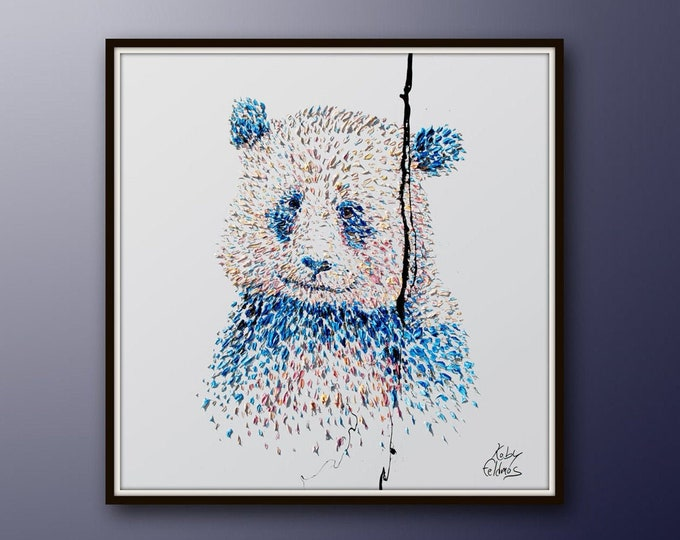 """Painting 35"""" Panda Bear oil painting, Original handmade painting on white canvas, calming pastel colors , thick paint, By Koby Feldmos"""