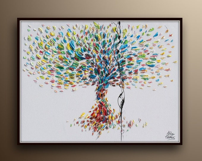 """Tree of Life 40""""- Original oil painting on canvas, Luxury thick layers, relaxing colors, gives extremely good vibes, by Koby Feldmos"""