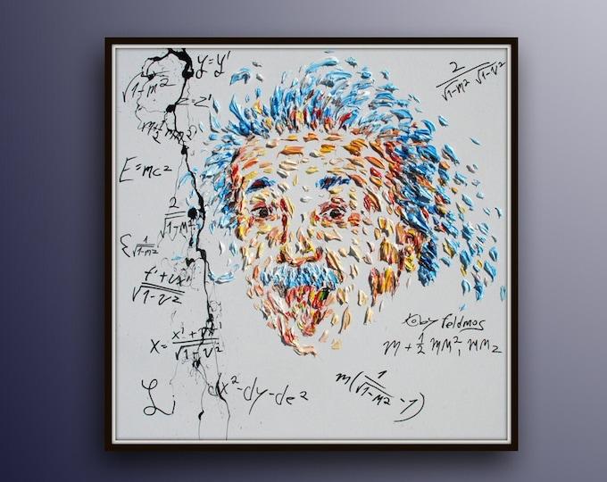"Painting Einstein 35"" oil painting on canvas, original art canvas pop art custom order portrait handmade by Koby Feldmos"