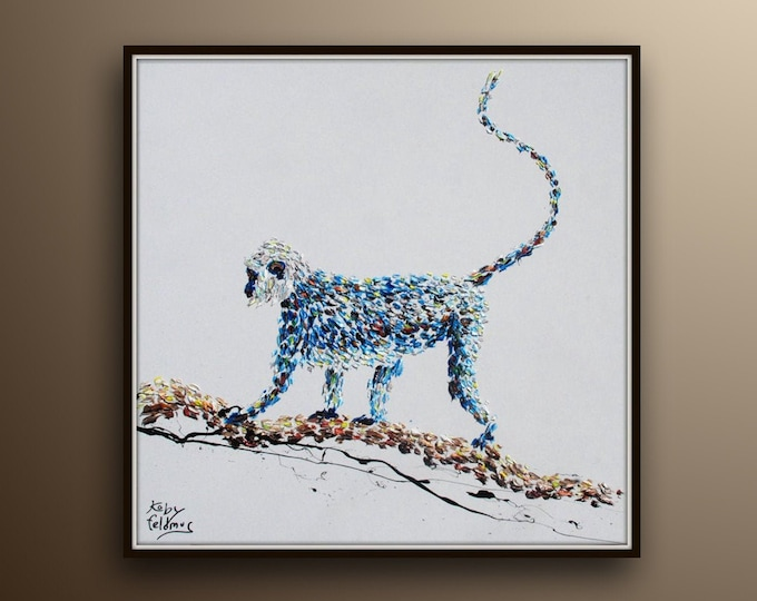 """Monkey 35"""" Oil painting, amazing composition of monkey on branch, beautiful long tail, Extremely unique, by Koby Feldmos"""