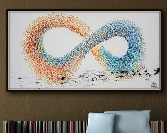 """Abstract Painting 67"""" Infinity Symbol , feng shui, Cold Warm Tones, beautiful thick texture, impasto style, modern art By Koby Feldmos"""