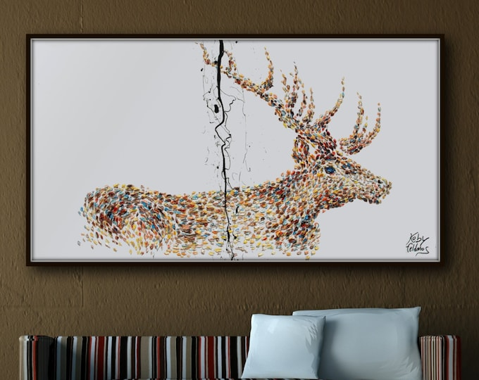 """Painting Animal STAG 67"""" Original handmade oil painting on canvas, thick oil layers, Luxury looks, Express shipping, By Koby Feldmos"""