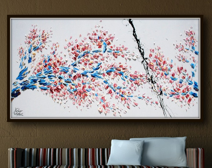 """Sakura Cherry Blossom Tree 55"""" - Beautiful Colourful Abstract Japanese Cherry Tree, represents a time of renewal and optimism, by K. Feldmos"""