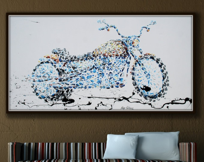 """Harley Davidson 67"""" original oil painting on canvas, Motorcycle painting, bike, Extremely unique and modern art, By Koby Feldmos"""