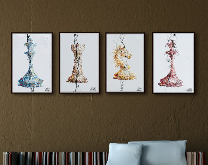 """Chess Set 4 paintings - 30""""  painting - Checkmate Original oil painting on canvas, office gift idea, gift for husband, by Koby Feldmos"""