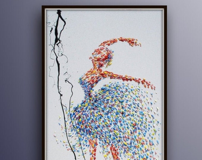 """Ballerina Ballet Dance 55"""" - Amazing & extremely unique ballerina, Classic dancing position, oil painting, Thick texture, By Koby Feldmos"""