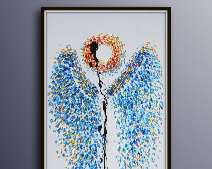 """Painting 55-"""" Angel wings , Original Oil Painting , One of a Kind Piece of Art, Calming Colors, Extremely unique , By Koby Feldmos"""