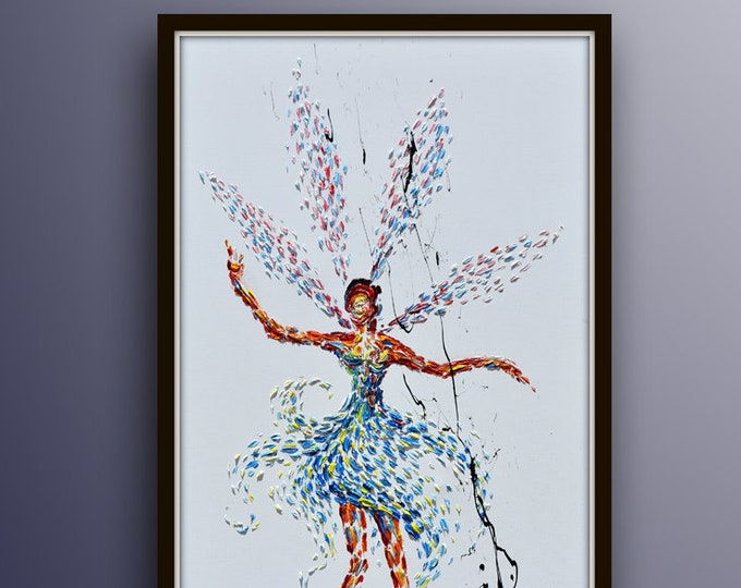 """Painting Fairy 55"""" original painting on canvas, figure painting, beautiful fairy flying, cold warm tones, by Koby Feldmos"""