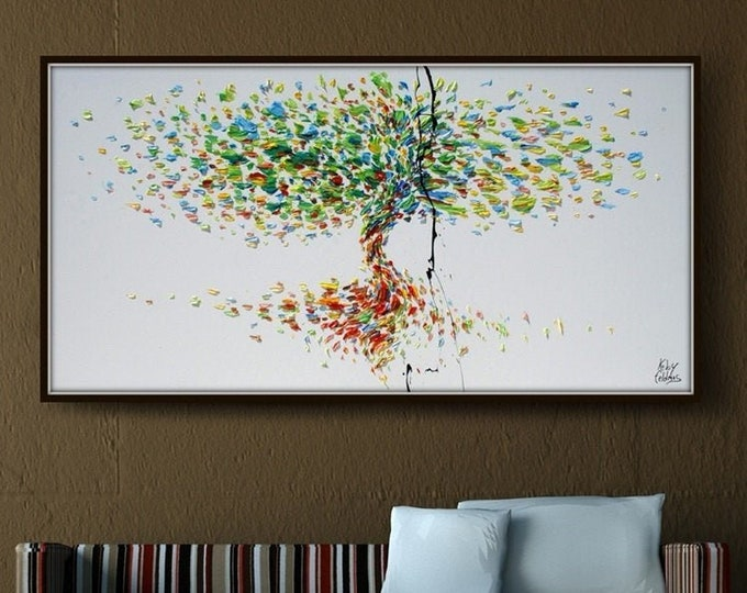 """Tree 67"""" Original oil painting on canvas, Luxury thick layers tree of Life, Large size painting, Gives extremely good vibes, by Koby Feldmos"""