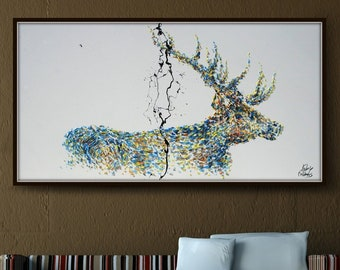 """Stag Animal 67"""" - Beautiful Stag with impressive horns, relaxing colors, thick texture, Modern artwork By Koby Feldmos"""