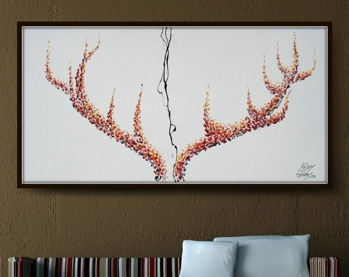 """Painting 55"""" stag horns, Original oil painting on canvas, Large size, modern art, thick oil paint, Express shipping, by Koby Feldmos"""