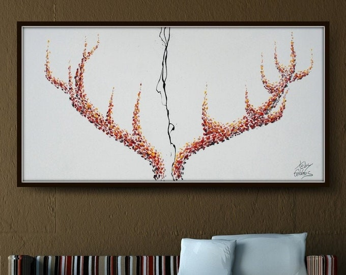 """Stag Horns 55""""  - Original oil painting on canvas, Large size artwork, modern painting, Original and handmade by Koby Feldmos"""