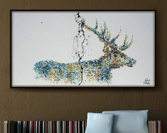 """Painting 55"""" Animal STAG deer Abstract Painting on canvas, Original & Handmade oil painting, Express Shipping, q By Koby Feldmos"""