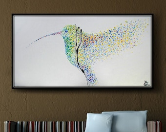 """Painting Humming Bird 55"""" Original oil painting on canvas, Clean Modern looks,Beautiful refreshing colors,express ship, koby feldmos"""