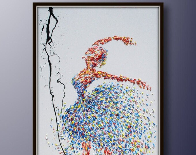 """Painting ballerina 55"""" original painting on canvas, figure painting, thick oil paint, extremely special, Express Shipping, By Koby Feldmos"""