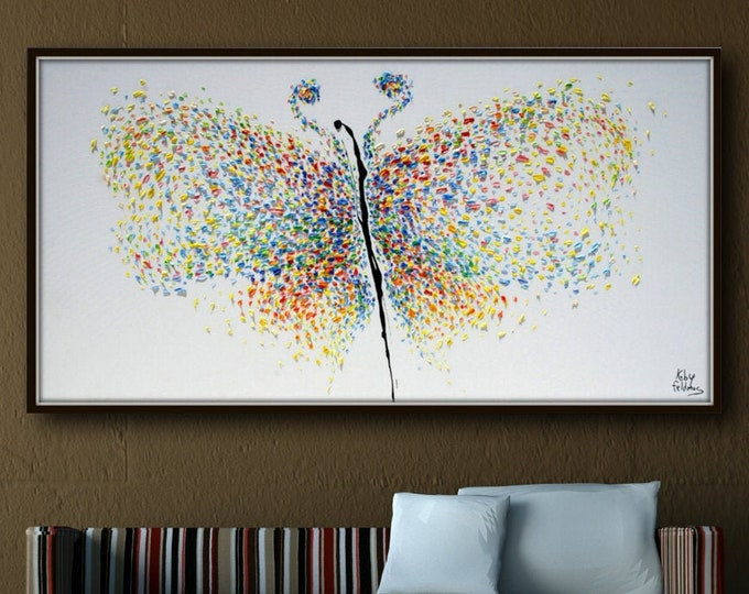 """Spring Butterfly 55"""" - Extremely unique original art of a butterfly,  Thick luxurious oil paint, Modern good vibes, By Koby Feldmos"""