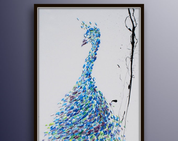 """Peacock 55"""" Amazing Beautiful bird painting, Hand made, Beautiful luxurious texture , certification attached, original by by Koby Feldmos"""