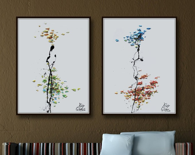 """Abstract Paintings Set 40"""",  Original and Handmade, Cold and Warm tones,  Home Decor,  set, by Koby Feldmos"""