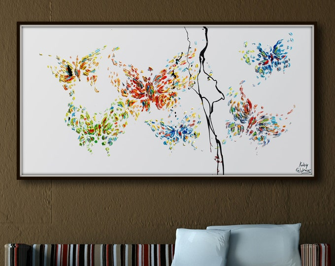"""Butterfly oil painting 55"""" , 6 Butterflies , Original oil painting on canvas, contemporary art, modern style, impasto style, By Koby Feldmos"""