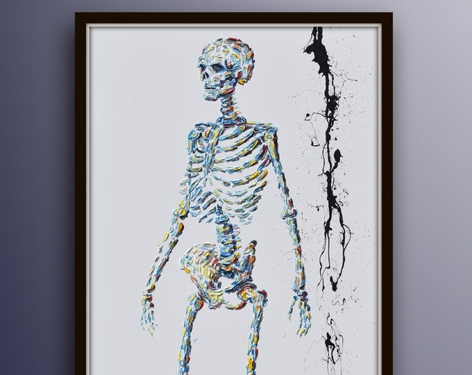 """Skeleton 55"""" original artwork oil painting on canvas, for doctor, Chiropractor, spine surgeons, medical doctor office art, by Koby Feldmos"""