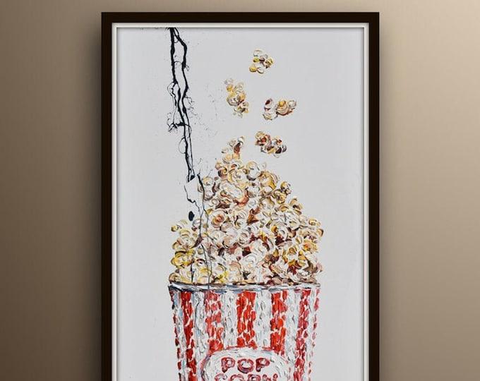 "Popcorn POP ART 60"" movie room Cinema Pop art style contemporary oil painting, food, Pop corn, gift idea handmade by Koby Feldmos"