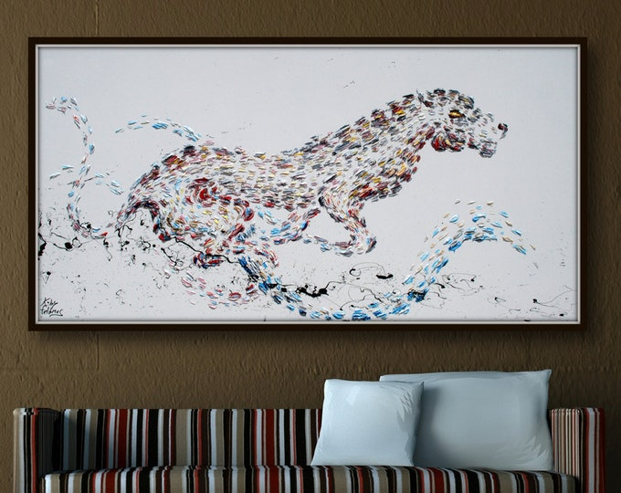 """Puma Painting 55"""" Beautiful curling animal (art nouveau style) painting, thick layers , Prestige &  luxurious, art collectors, Koby Feldmos"""