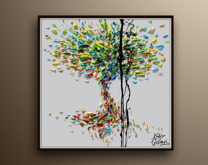 """Tree of Life 25"""" Original oil painting on canvas, Luxury thick layers tree of Life, Gives extremely good vibes, by Koby Feldmos"""