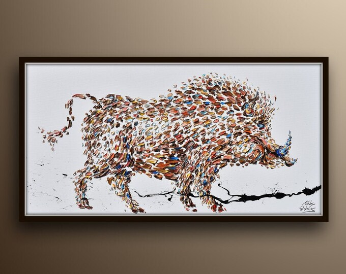 """Painting 55""""  - Wild Tuscan Boar -  original oil Painting  on canvas, , Modern Art , Express Shipping, By Koby Feldmos"""