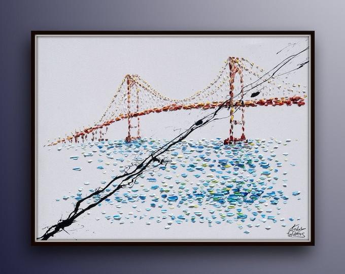 "BRIDGE Painting 60"" x 40"" Original oil painting on canvas, landscape painting BEAUTIFUL impressive large artwork by Koby Feldmos"