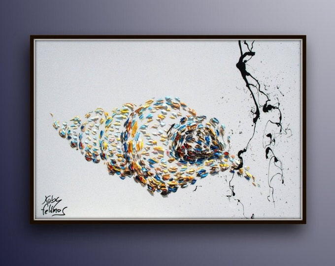 """Gift idea 30"""" Sea shell original oil painting canvas, innovative art, unique painting, cool fresh art, lots of texture, By Koby Feldmos"""