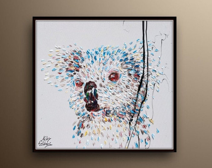 """Koala 25""""  oil painting, Original handmade painting on white canvas, calming pastel colors , thick paint, By Koby Feldmos"""