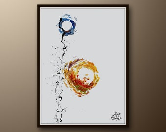 """Abstract Painting 40"""" Sun & Moon, abstract, Express shipping, By Koby Feldmos"""