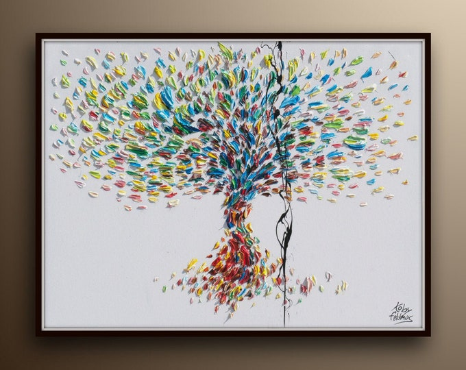 """Tree 40"""" X 30"""" Original oil painting on canvas, Luxury thick layers tree of Life, Large size painting,  by Koby Feldmos"""