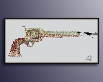 """55"""" Shooting Gun Pop Art style, thick oil paint impasto style modern Art on canvas , Express shipping worldwide, By Koby Feldmos"""