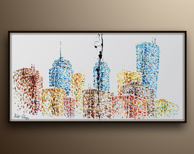 """Buildings Painting 67"""" Skyline cityscape original oil painting on canvas, thick layers, Luxury looks, Large canvas, By Koby Feldmos"""