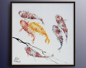 Painting 35 quot Koi fish for Luck - Feng shui painting, Modern, luxury looks, thick layers, Express shipping worldwide, by Koby Feldmos