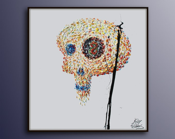 """Skull 35"""" Surreal Oil painting on Canvas / Original Hand made painting / thick brushstrokes / Express Shipping / By Koby Feldmos"""