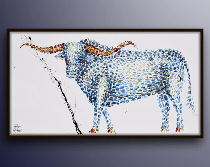 """Painting Animal 67"""" TEXAS LONGHORN oil painting on canvas, thick oil layers, Luxury looks, Express shipping, By Koby Feldmos"""