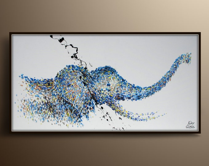 """Elephant Painting 55"""" Animal oil painting on canvas, Calming blue color, thick paint, large painting, Express Shipping, By Koby Feldmos"""