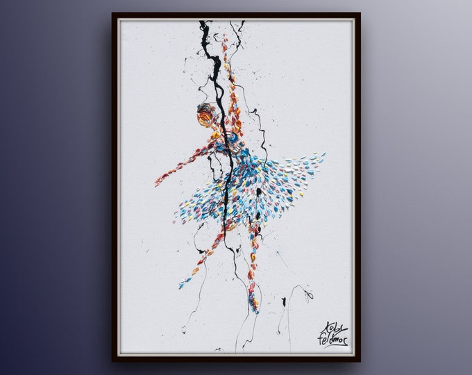 """Ballerina Painting 30"""" original painting on canvas, figure painting, thick oil paint, extremely special,  Express Shipping, By Koby Feldmos"""