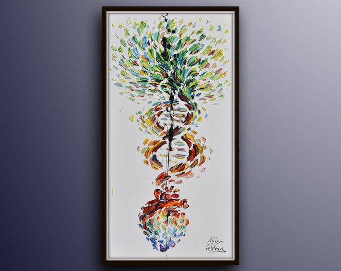 """Heart & Tree 48""""/24"""" - Beautiful painting of a heart growing to a tree through the DNA, office painting, or as gift for doctor or surgeon."""