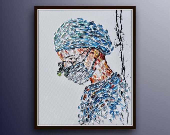 "Doctor Female 40"" , beautiful original art for office, gift to doctor, neurosurgeon, brain surgery, general surgeon, by Koby Feldmos"