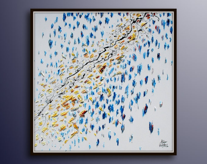"""Painting 35""""  - Lightning - Abstract painting original oil painting on canvas, unique art, special colors,  By Koby Feldmos"""