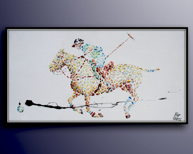 """Polo 67"""" Classic original oil painting, polo game, horse, game, animal, fine art, interior design, thick layers, handmade by Koby Feldmos"""